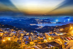 The seaside mountain town scenery in Jiufen, Taiwan Royalty Free Stock Photography