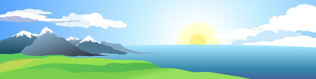 Seaside and mountains. Sunrise above ocean. Vector panoramic illustration. Vector (EPS 8 royalty free illustration