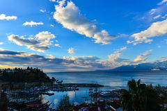 Seaside, mountains and sky Royalty Free Stock Images
