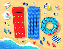 Seaside objects lying on sand. Top view illustration of seaside vacation objects lying on sand near sea surf vector illustration