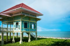 Seaside the old blue palace Royalty Free Stock Photos