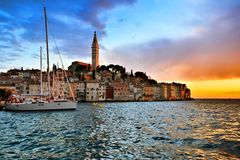 Seaside old town of Rovinj, Croatia with vibrant sunset Stock Photo