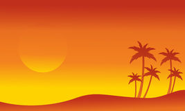 Seaside with palm silhouettes collection Stock Image