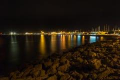 Seaside of Palma de Mallorca. Coastline of Palma de Mallorca at night Royalty Free Stock Image