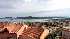 Seaside panorama of touristic town, Cunda Alibey Island, Ayvalik.  It is a small island in the n stock video footage