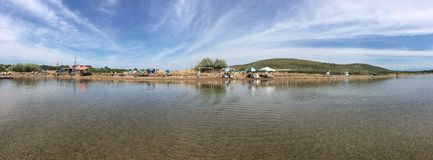 Seaside panorama of touristic town, Cunda patrica national park in Alibey Island, Ayvalik.  It is a small island in the northweste Royalty Free Stock Photos
