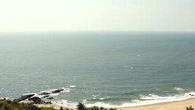 Seaside panorama view on the beach. Aerial Seaside panorama view on the beach stock video footage