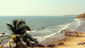 Seaside panorama view with beach. Seaside panorama view with beauty beach stock video footage