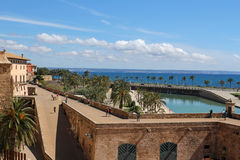 Seaside and Parc de la Mar in Palma de Mallorca, Majorca, Spain Stock Photography