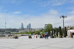Seaside park in Baku, walking people Royalty Free Stock Photo