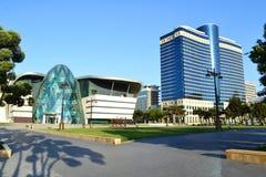 Seaside park boulevard. Two beautiful buildings in the seaside boulevard in Baku, Azerbaijan Royalty Free Stock Photo