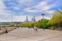 Seaside park embankment of Baku city, boulevard Royalty Free Stock Photo