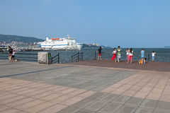 Seaside park in Weihai, China. Weihai, Shandong, China - July 29, 2014: Seaside park in summer Royalty Free Stock Photos