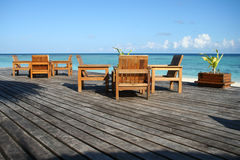 Seaside patio maldives Royalty Free Stock Photo