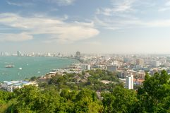 Pattaya City with clear blue sky. Seaside Pattaya city landscape view with clear blue sky and ships in the sea Royalty Free Stock Image