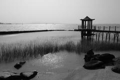 Seaside pavilion black and white image. Boardwalk and pavilion at beach of xiaodeng isle, amoy city, china Stock Photography