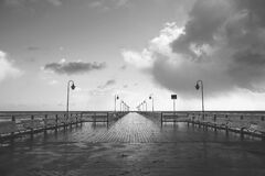 Seaside pier in black and white