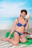 Seaside pinup girl Royalty Free Stock Image