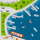 Seaside port aerial top view poster. Seaside dockyard harbor terminal area with cargo vessels top view from above poster flat abstract vector illustration Stock Photos