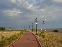 Seaside promenade with bicycle path, Sochi, Russia stock photography