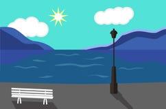 Seaside Promenade.  Flat style. Seaside Landscape. Seaside Promenade. Vector art illustration. Flat style Royalty Free Stock Photos