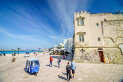 Seaside promenade with many tourists in Otranto, Italy Royalty Free Stock Image