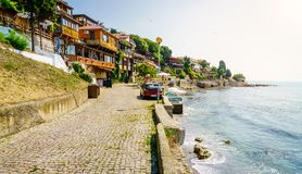 Seaside promenade in Nessebar, Bulgaria Royalty Free Stock Images