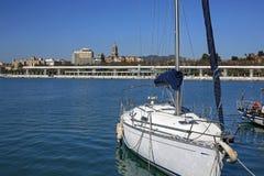 Seaside promenade Passeo del Muelle Uno in Malaga, Spain. Beautifully located seaside promenade Passeo del Muelle Uno in Malaga, Spain royalty free stock images