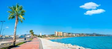 Seaside promenade at port in Malaga. Andalusia, Spain royalty free stock images