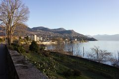 Seaside promenade view of lago maggiore near verbania Royalty Free Stock Images