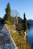 Seaside promenade view of lago maggiore near verbania Royalty Free Stock Image