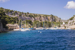 In the seaside in Provence. One of the creek of Cassis in Provence Royalty Free Stock Image