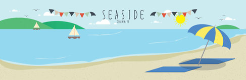 Seaside relaxation. In summer vector illustration Stock Photography