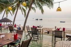 Seaside resaturant in Vietnam. Seaside resaturant on a terrace at Saigon resort, Puh Quoc, Vietnam, Jan 24, 2014 Stock Photo
