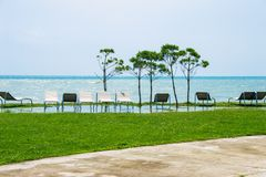 Seaside resort, chaise longue, black sea, grass Stock Photo