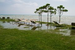 Seaside resort, chaise longue, black sea, grass Stock Images
