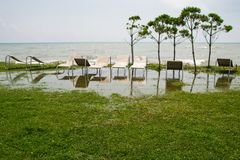 Seaside resort, chaise longue, black sea, grass Stock Image
