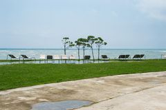 Seaside resort, chaise longue, black sea, grass Royalty Free Stock Photos