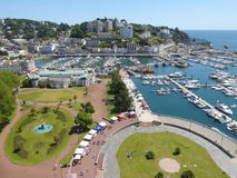 Seaside resort in England. Aerial view of the seaside resort of Torquay in Devon, England Royalty Free Stock Images