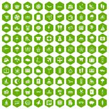 100 seaside resort icons hexagon green. 100 seaside resort icons set in green hexagon isolated vector illustration Stock Images