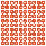 100 seaside resort icons hexagon orange. 100 seaside resort icons set in orange hexagon isolated vector illustration Stock Illustration