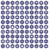 100 seaside resort icons hexagon purple. 100 seaside resort icons set in purple hexagon isolated vector illustration Stock Images