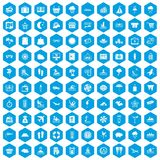100 seaside resort icons set blue. 100 seaside resort icons set in blue hexagon isolated vector illustration Royalty Free Stock Photography