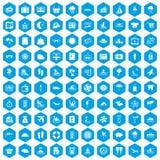 100 seaside resort icons set blue. 100 seaside resort icons set in blue hexagon isolated vector illustration Royalty Free Illustration