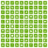 100 seaside resort icons set grunge green. 100 seaside resort icons set in grunge style green color isolated on white background vector illustration Vector Illustration