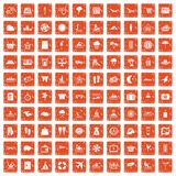 100 seaside resort icons set grunge orange. 100 seaside resort icons set in grunge style orange color isolated on white background vector illustration Royalty Free Stock Photography