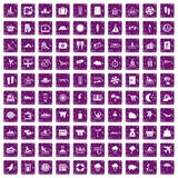 100 seaside resort icons set grunge purple. 100 seaside resort icons set in grunge style purple color isolated on white background vector illustration Royalty Free Stock Images