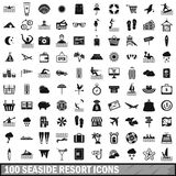 100 seaside resort icons set, simple style Royalty Free Stock Photos