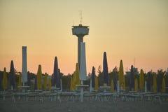 Seaside resort at sunset stock image