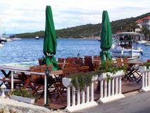 Seaside restaurant. Seaside retaurant on Adriatic coast, Marina Stock Photos
